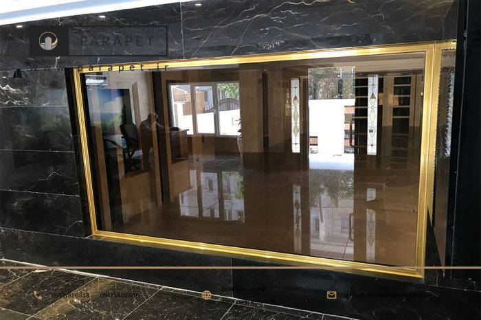 شیشه سکوریت برنز با پاسار طلایی
