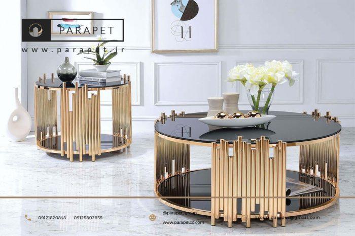 میز جلو مبلی استیل طلایی دایره