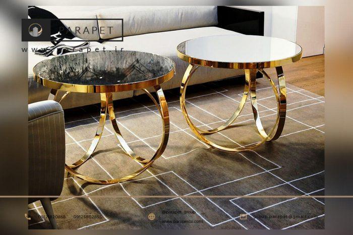 میز عسلی استیل طلایی گرد