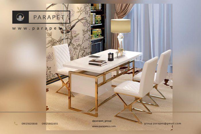 میز مدیریت استیل طلایی