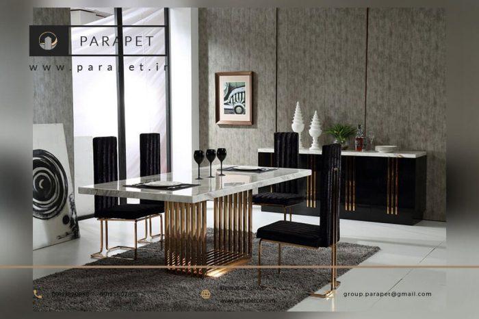 میز ناهار خوری استیل طلایی