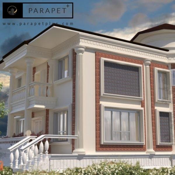 نمای ساختمان پاراپت سنگی کلاسیک